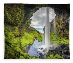 Behind Kvernufoss Fleece Blanket