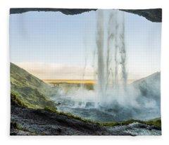 Behind Seljalandsfoss Fleece Blanket