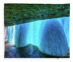 Behind The Falls Minnehaha Falls Minneapolis Minnesota Winter Morning II Fleece Blanket