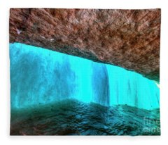 Behind The Falls Minnehaha Falls Minneapolis Minnesota Winter Morning Fleece Blanket