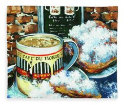Beignets And Cafe Au Lait Fleece Blanket