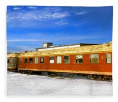 Belfast And Moosehead Railroad Cars In Winter Fleece Blanket