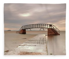 Belhaven Stairs And The Bass At Low Tide Fleece Blanket