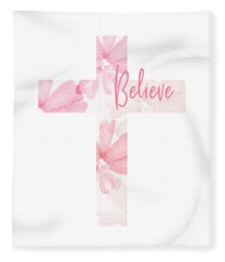 Believe Floral Cross- Art By Linda Woods Fleece Blanket