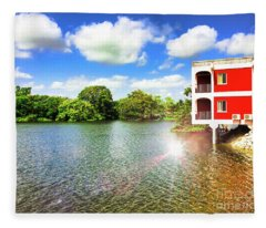 Belize River House Reflection Fleece Blanket