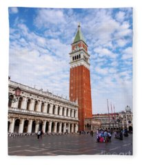 Bell Tower Of The Basilica Of San Marco, Venice, Italy Fleece Blanket
