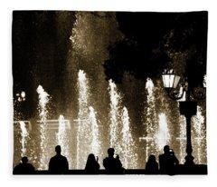 Bellagio Fountain At Night Fleece Blanket