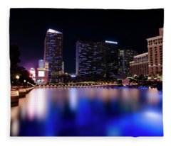 Bellagio Fountain At Night Fleece Blanket