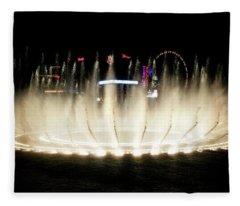 Bellagio Hotel Fountain At Night Fleece Blanket