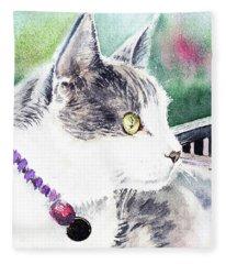 Beloved Cat Portrait  Fleece Blanket