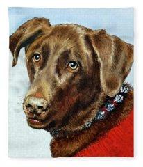 Beloved Dog Portrait  Fleece Blanket