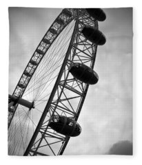 Below London's Eye Bw Fleece Blanket