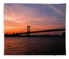 Ben Franklin Bridge Sunset Fleece Blanket