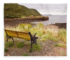 Bench At The Bay Fleece Blanket