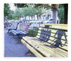 Bench Graffiti Fleece Blanket