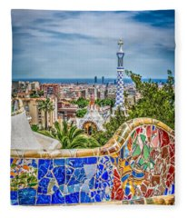 Bench Of Barcelona Fleece Blanket