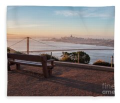 Bench Overlooking Downtown San Francisco And The Golden Gate Bri Fleece Blanket