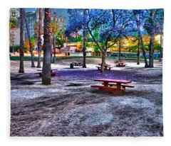 Benches Day In The Park Fleece Blanket