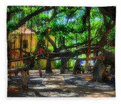 Beneath The Banyan Tree Fleece Blanket