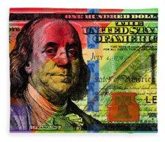 Benjamin Franklin $100 Bill - Full Size Fleece Blanket