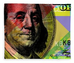 Benjamin Franklin - $100 Bill Fleece Blanket