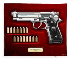 Beretta 92fs Inox Over Red Velvet Fleece Blanket