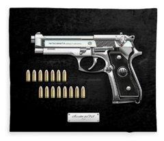 Beretta 92fs Inox With Ammo On Black Velvet  Fleece Blanket