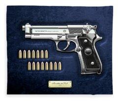 Beretta 92fs Inox With Ammo On Blue Velvet  Fleece Blanket