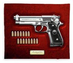 Beretta 92fs Inox With Ammo On Red Velvet  Fleece Blanket