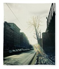 Berlin Street With Sun Fleece Blanket