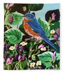 Berry Bluebird Fleece Blanket