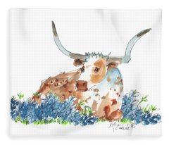 Bessie In The Bluebonnets Watercolor Painting By Kmcelwaine Fleece Blanket