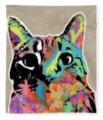 Best Listener Kitty- Pop Art By Linda Woods Fleece Blanket