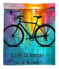 Better On A Bike Fleece Blanket