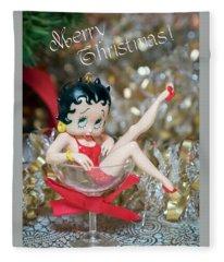 Betty Boop Merry Christmas Card Fleece Blanket