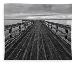 Bevan Fishing Pier - Black And White Fleece Blanket