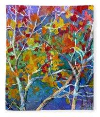Beyond The Woods - Orange Fleece Blanket