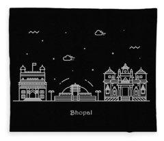 Bhopal Skyline Travel Poster Fleece Blanket
