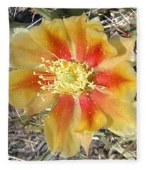 Bicolored Prickly Pear Bloom Fleece Blanket