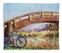 Bicycle Bridge Marina  Fleece Blanket