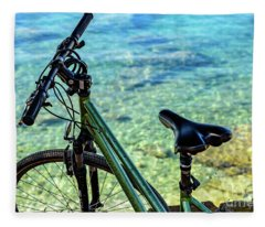 Bicycle By The Adriatic, Rovinj, Istria, Croatia Fleece Blanket