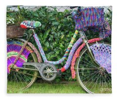 Bicycle In Knitted Sweater Fleece Blanket