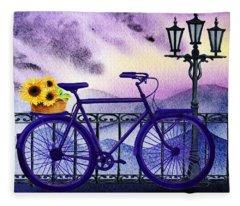 Blue Bicycle And Sunflowers By Irina Sztukowski  Fleece Blanket