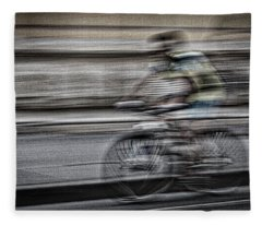 Bicycle Rider Abstract Fleece Blanket