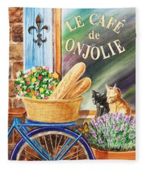Bicycle With Basket At The Cafe Window Fleece Blanket