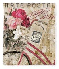 Bicycling In Paris I Fleece Blanket