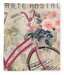 Bicycling In Paris II Fleece Blanket
