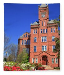 Biddle Hall In The Spring Fleece Blanket