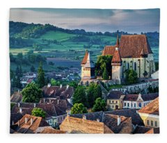 Biertan Church Dawn - Romania Fleece Blanket