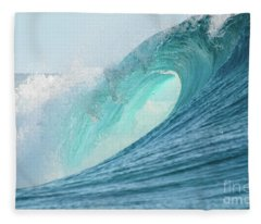 Big Barrel Wave Breaking For Surfing Fleece Blanket